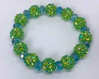 Green and Blue Rhinestone Bracelet