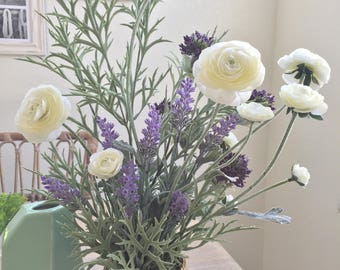Ranunculus and Lavender | silk arrangement, rustic elegant centerpiece, bronze vase included