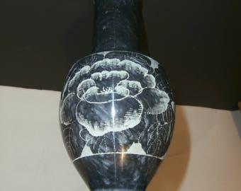 """Vintage Carved Alabaster Stone  Vase 9"""" Tall Flower Design"""