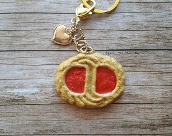 Keychain jewelry, butter cookie with Strawberry Jam in fimo.