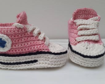 Crochet baby sneakers converse all stars shoes pink