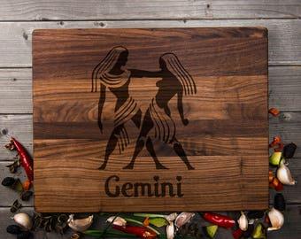 Gemini Engraved Cutting Board Gemini Gift Gemini Birthday Gift Gemini Party Gift Special Gift For Gemini Gemini Cutting Board Not Shirt