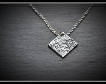 Engraved Square Pendant - Silver Precious Metal Clay (PMC), Handmade, Necklace - (Product Code: ACM031-17)