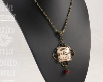 "Necklace ""Quadratum"" - glass tile, bead Carmine and manuscript medieval"