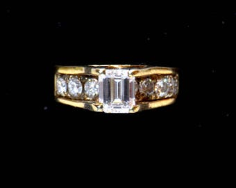 Vintage Solid Gold and Emerald Cut Diamond Engagement Ring