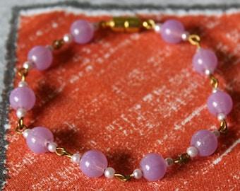 Violet Sky Glass Bead Bracelet