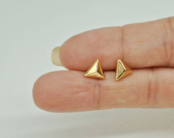 Triangle Gold Plated Earrings, Gold Triangle Stud Earrings, Minimal Small Gold Triangle Earrings, Rhodium Earrings