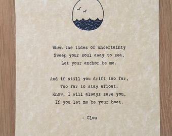 "Original ""Tides of Uncertainty"" PoemsbyClou 5x7 Single Print (without Frame)"