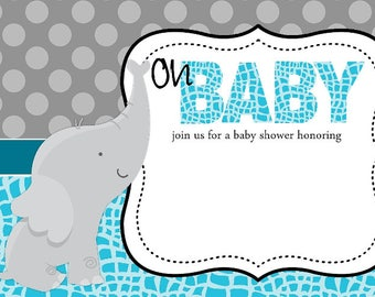 Oh Baby - Baby Shower Invitation for Boy