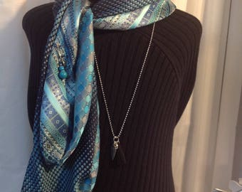 Unique scarf made of neckties recycle single silk in shades of blue and turquoise