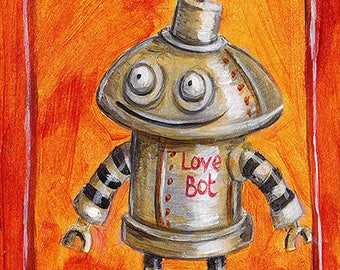 ACEO Print - Vintage Style Love Robot with Heart Flower, Valentine's Day Robot, Sketch Card Robot