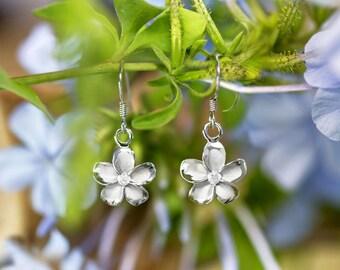 Plumeria Sterling Silver CZ Hook Earrings