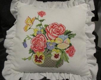 "Vintage Hand Done Petit Point Pillow~Multi-Color Flowers in Basket~Crochet Edge~16"" x 16"""