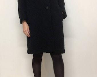 Black coat with fur collar