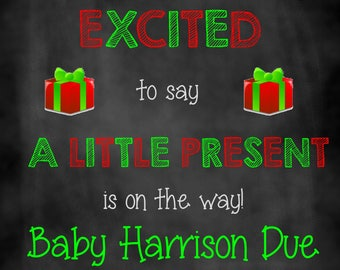 Little Present on the Way, Christmas Pregnancy Announcement, Pregnancy Announcement