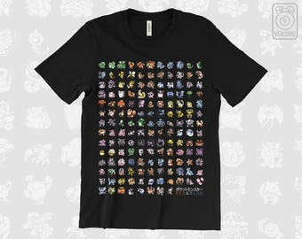 Kanto 151 T-SHIRT // Pokemon Red Blue // Retro // Original First Gen // Mens & Womens Sizes // Gamer Gifts