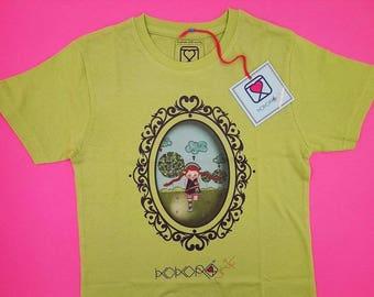 t-shirt girl - kid - green - mini shopper - button - pin -  doll - braids - romantic - cameo - handmade - gift idea - kokoronaif tees