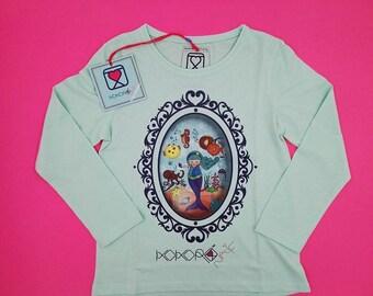 t-shirt girl - kid - aquamarine - mini shopper - button - pin -  doll - mermaid - romantic - cameo - handmade - gift idea - kokoronaif tees
