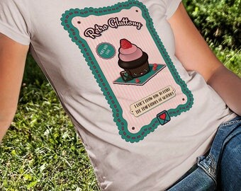 t-shirt girl - teen - beige - mini shopper - button - pin -  retro gluttony - cupcake - funny - handmade - gift idea - kokoronaif tees