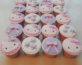 Hello Kitty / My Melody Fondant Cupcake Toppers