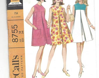Vintage 60's Sewing Pattern 1967.   McCall's 8755    Misses Easy to Sew Sleeveless dress in three versions.  Size 14