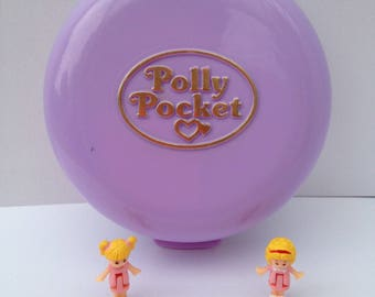 "Polly Pocket ""Polly's Flat"", 100% full purple compact, studio, home, Polly and Tina, Bluebird 1989"