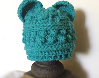 Blue Bear Baby Hat