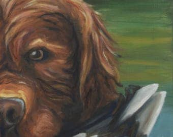 "Golden Retriever 10""X10"" Signed Print of Original Oil Painting"