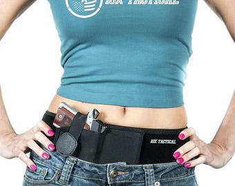 10X Tactical Belly Band Holster for Concealed Carry pistols, revolvers - Men and Women, Retention Strap, Compact & Full Size Handguns