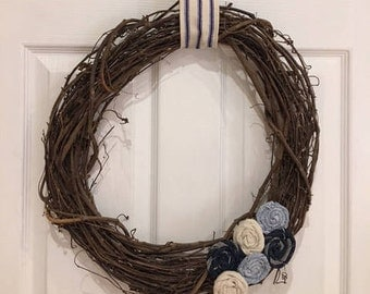 Grapevine wreath with Denim Flowers