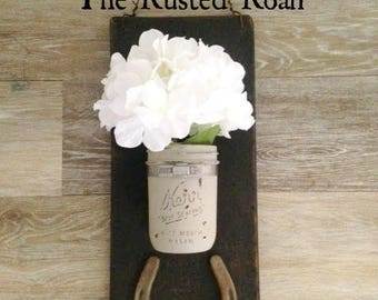 Mason Jar Wall Decor, Painted Mason Jar, Rustic Mason Jar Decor, Mason Jar Decor, Rustic Decor, Farmhouse Decor, Mason Jar Wall Sconce