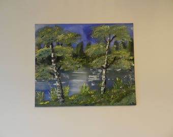 Oil Painting on Canvas Board , Trees, Water, Sunny Day,