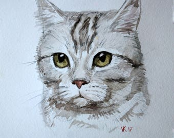 Watercolor painting original Pet custom portrait Cat dog Made to order from foto Gift painting Gift family Animal wall art Pet home decor