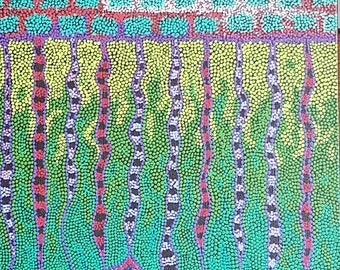 "Roots, 12 x 36"",  Abstract Art, Dot Art, Acrylic Painting, Painting,"