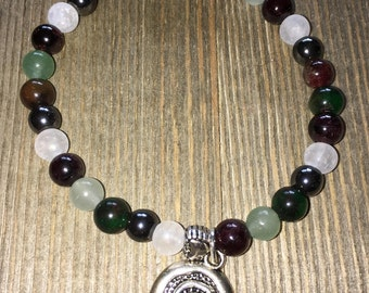 Garnet, Jade and Quartz Crystal Bracelet with Spiral charm