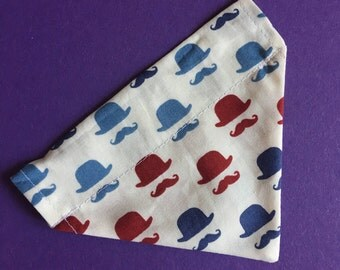Top hat and moustache dog bandana SMALL