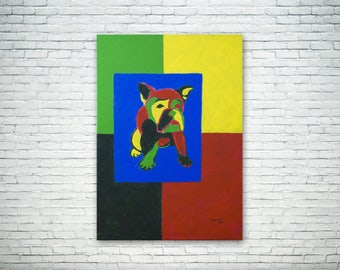 Bulldog geometric acrylic modern painting on canvas