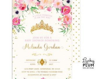 Princess Baby Shower Invitation / Royal Baby Shower Invitation / Pink Gold Baby Shower Invitation / Couples Baby Shower Invitation / Coed