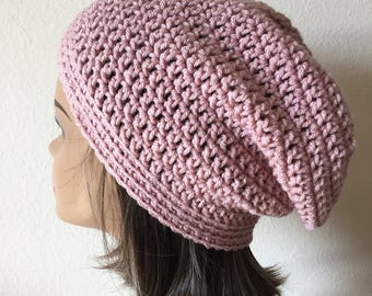 Pink Slouchy Beanie, Free Shipping,  Slouchy Hat, Teen  or adult Tam,  Light Mauve Crochet Slouchy Hat
