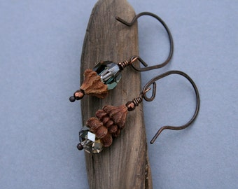 asymmetrical earthy earrings with eucalyptus pods and crystals - small dangle ethnic earrings - nature jewelry