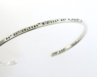 Custom Coordinate Silver Bracelet, hand stamped sterling cuff bracelet custom made with your chosen message, by Kathryn Riechert