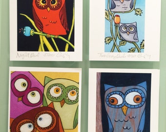 Colorful Owls Boxed Greeting Card Set of 8