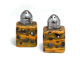 Salt and Pepper shakers polymer clay overlay with faux burl wood unique kitchen ware table setting small cube shape