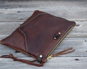 Mini Leather Zippered Purse /  Phone Case / Camera Wristlet / Leather Pouch / Whiskey Brown LeatherPurse / Handmade / Summer SALE