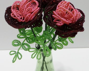 French Beaded Flowers Double Color Peonies in Pink & Garnet