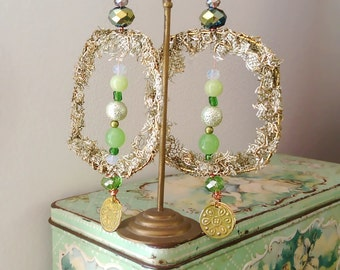 Vintage Gold & Green Lace earrings, Beaded, Squares, Large Earrings, Palest Green, Crystals, Beads, Boho Earrings, Gypsy