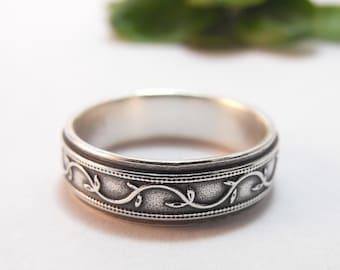 Mens Wedding Band, Womens Wedding Band, Silver Wedding Band, Petunia Ivy Vine Ring, Mens Wedding Ring, Womens Wedding Ring, Wide Band
