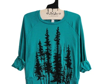 SALE Small Evergreen Teal Tri-Blend Sweatshirt with Evergreen Trees Print