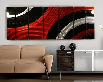 Huge Red, Black & Silver Modern Metal Wall Art, Contemporary Wall Decor, Abstract Painting, Office Decor -  Critical Mass XL by Jon Allen