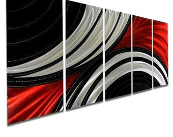 Red, Black & Silver Modern Metal Wall Art, Abstract Wall Sculpture Decor , Contemporary Metal Painting -  Feverish Perception by Jon Allen